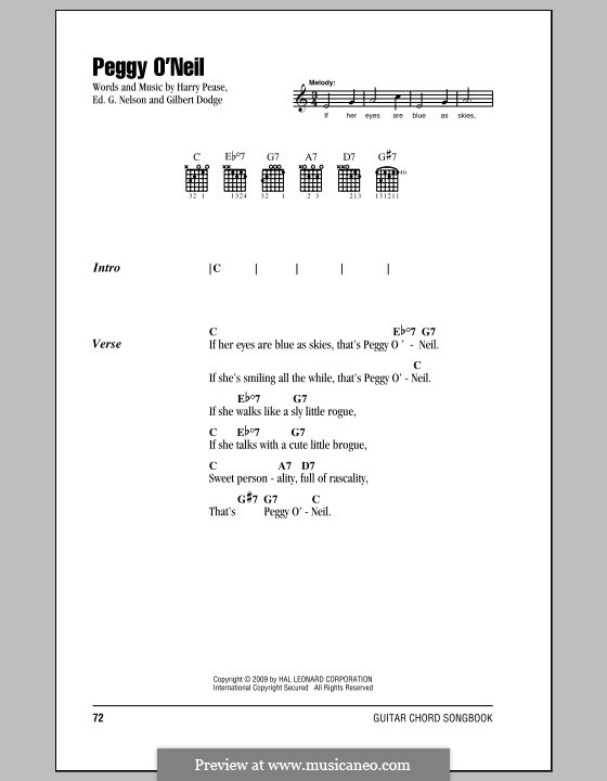 Peggy O'Neil (Harry Pease): Lyrics and chords (with chord boxes) by Ed G. Nelson, Gilbert Dodge