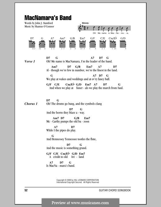 MacNamara's Band: Lyrics and chords (with chord boxes) by Shamus O'Connor