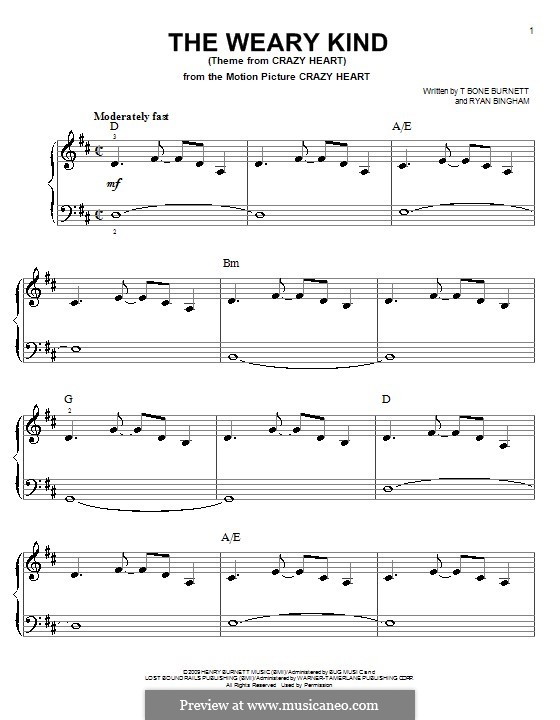 The Weary Kind: For easy piano by Ryan Bingham