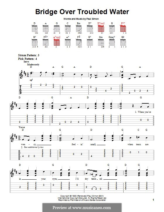 Bridge Over Troubled Water: For easy guitar with tabulature by Paul Simon