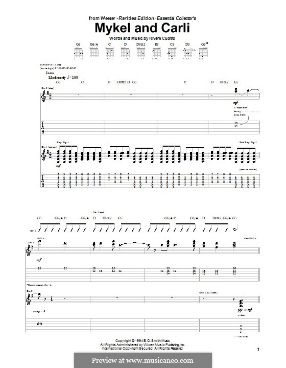 Mykel and Carli (Weezer): For guitar with tab by Rivers Cuomo
