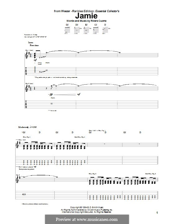 Jamie (Weezer): For guitar with tab by Rivers Cuomo