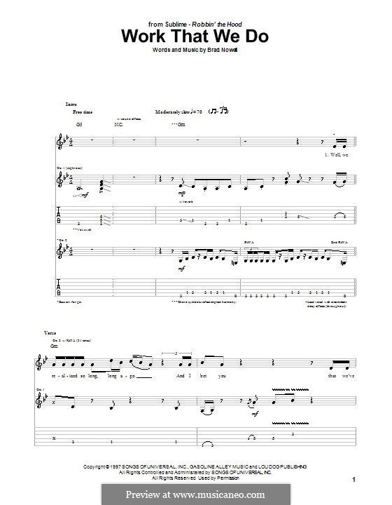 Work That We Do (Sublime): For guitar with tab by Brad Nowell