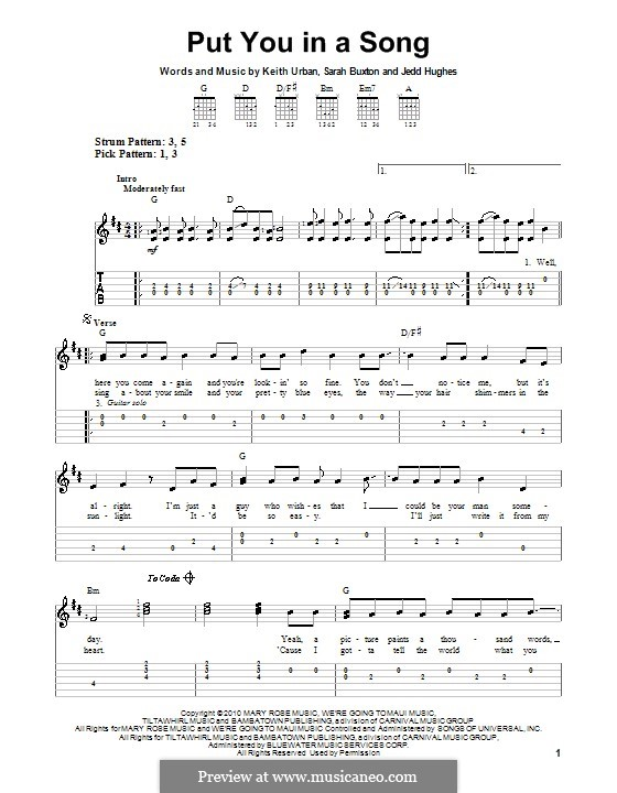 Put You in a Song (Keith Urban): For guitar (very easy version) by Jedd Hughes, Sarah Buxton