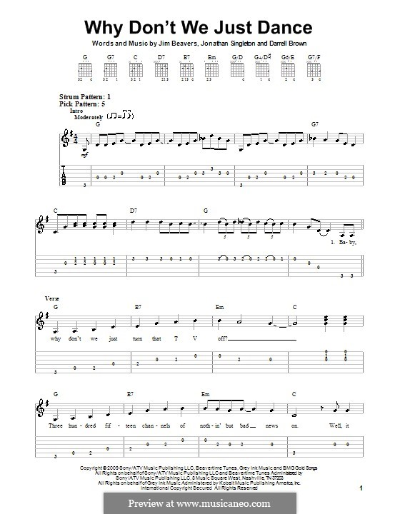 Why Don't We Just Dance (Josh Turner): For guitar (very easy version) by Darrell Brown, Jim Beavers, Jonathan Singleton