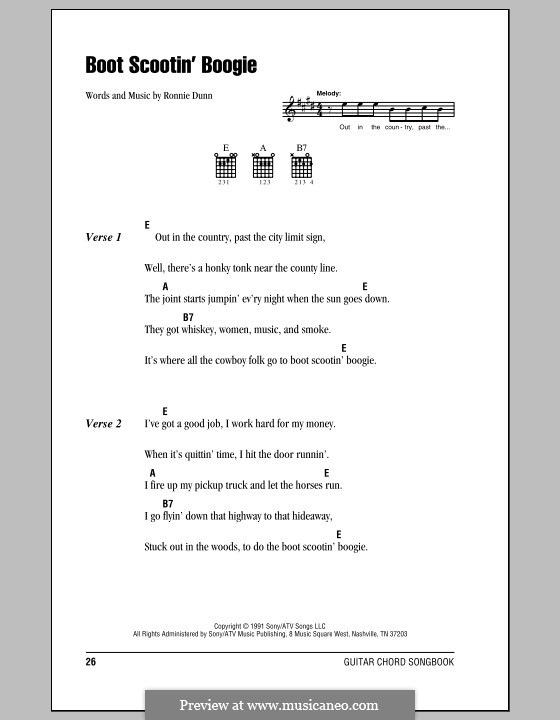 Boot Scootin' Boogie (Brooks & Dunn): Lyrics and chords (with chord boxes) by Ronnie Dunn