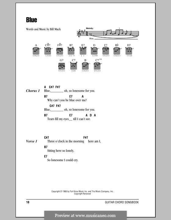 Blue (LeAnn Rimes): Lyrics and chords (with chord boxes) by Bill Mack