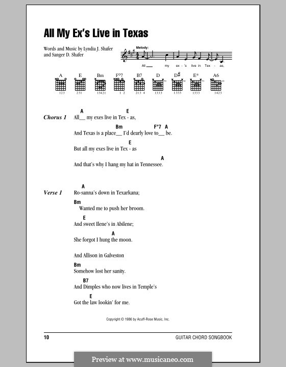 All My Ex's Live in Texas: Lyrics and chords (with chord boxes) by Lyndia J. Shafer, Sanger D. Shafer