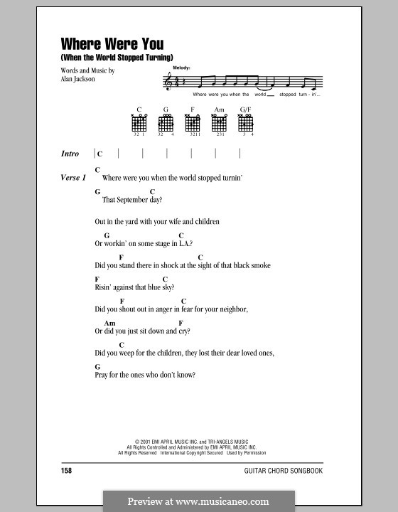 Where Were You (When the World Stopped Turning): Lyrics and chords (with chord boxes) by Alan Jackson