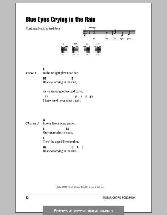 Blue Eyes Crying in the Rain (Willie Nelson): Lyrics and chords (with chord boxes) by Fred Rose