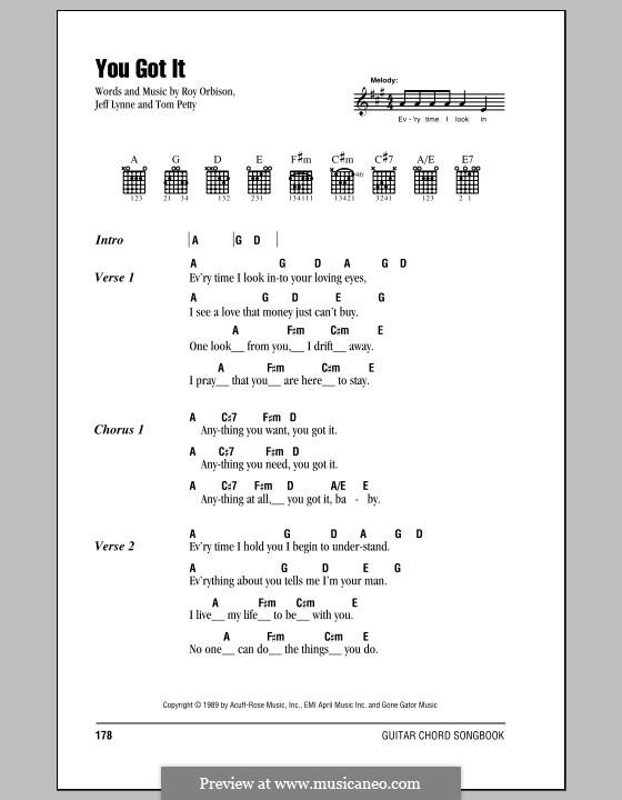 You Got It By J Lynne T Petty Sheet Music On Musicaneo