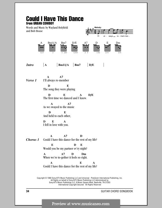 Could I Have This Dance (Anne Murray): Lyrics and chords (with chord boxes) by Bob House, Wayland Holyfield