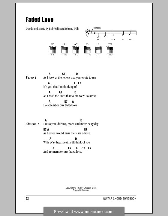 Faded Love (Bob Wills): Lyrics and chords (with chord boxes) by Johnny Wills