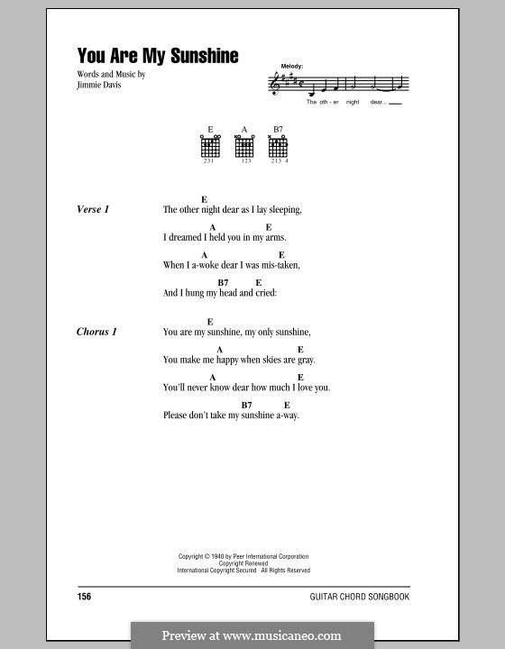 You are My Sunshine: Lyrics and chords (with chord boxes) by Jimmie Davis