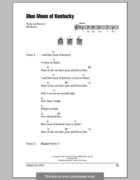 Blue Moon of Kentucky: Lyrics and chords (with chord boxes) by Bill Monroe