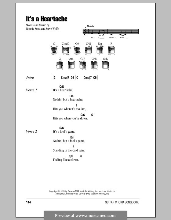 It's a Heartache (Bonnie Tyler): Lyrics and chords (with chord boxes) by Ronnie Scott, Steve Wolfe