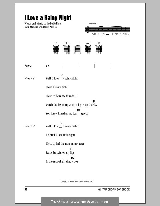 I Love a Rainy Night (Eddie Rabbitt): Lyrics and chords (with chord boxes) by David Malloy, Even Stevens