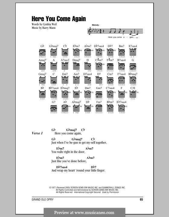 Here You Come Again (Dolly Parton): Lyrics and chords (with chord boxes) by Barry Mann, Cynthia Weil