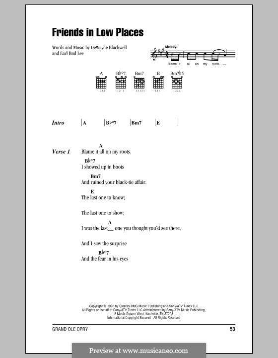 Friends in Low Places (Garth Brooks): Lyrics and chords (with chord boxes) by Dewayne Blackwell, Earl Bud Lee