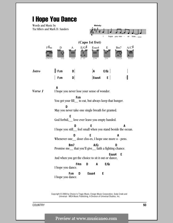 I Hope You Dance (Lee Ann Womack): Lyrics and chords (with chord boxes) by Mark D. Sanders, Tia Sillers