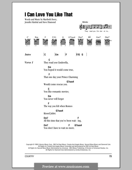 I Can Love You Like Thatr (All-4-One): Lyrics and chords (with chord boxes) by Jennifer Kimball, Maribeth Derry, Steven Diamond