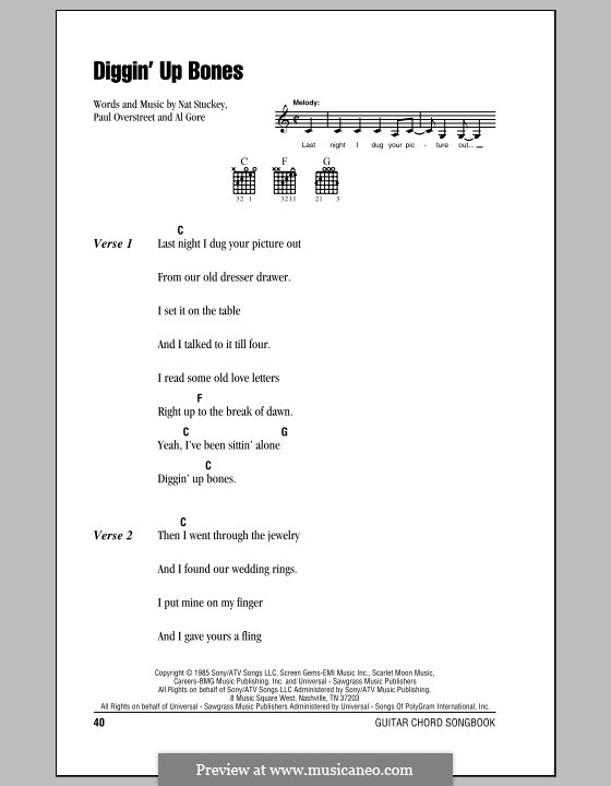 Diggin' Up Bones (Randy Travis): Lyrics and chords (with chord boxes) by Al Gore, Nat Stuckey, Paul Overstreet