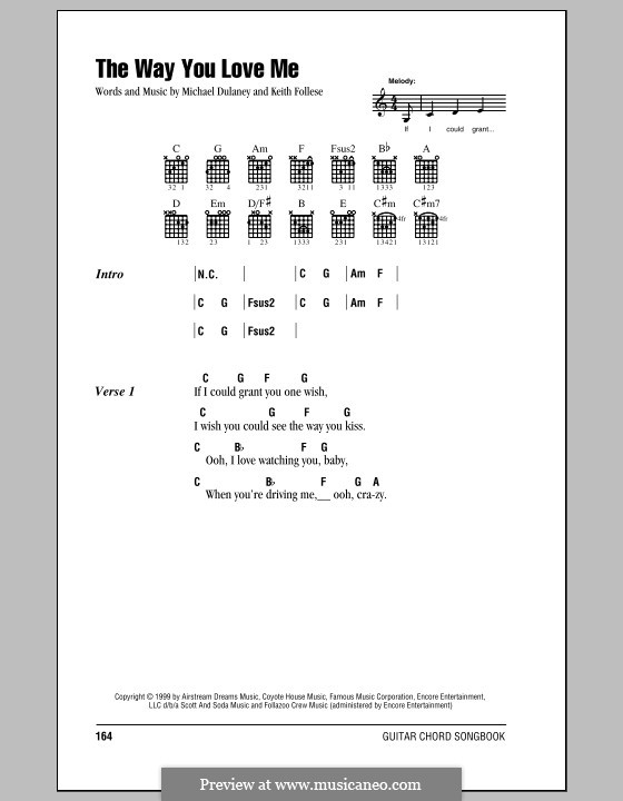 The Way You Love Me (Faith Hill): Lyrics and chords (with chord boxes) by Keith Follese, Michael Dulaney