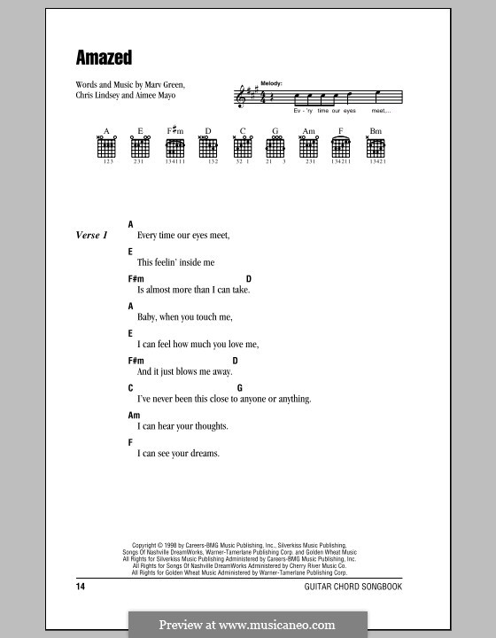 Amazed (Lonestar): Lyrics and chords (with chord boxes) by Aimee Mayo, Chris Lindsey, Marv Green