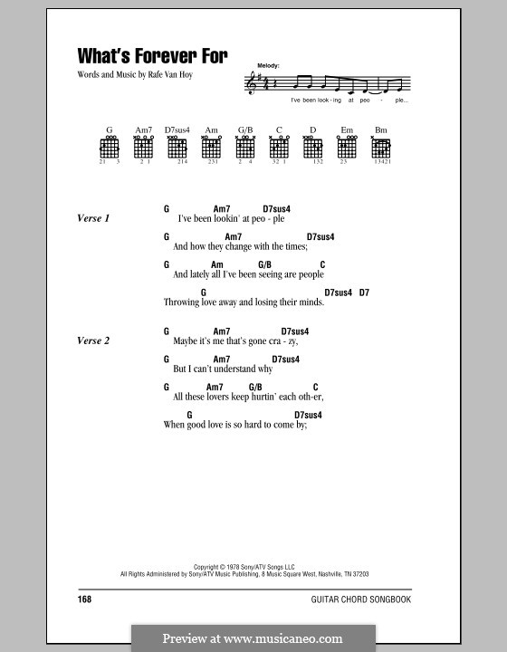 What's Forever for (Michael Martin Murphey): Lyrics and chords (with chord boxes) by Rafe Van Hoy