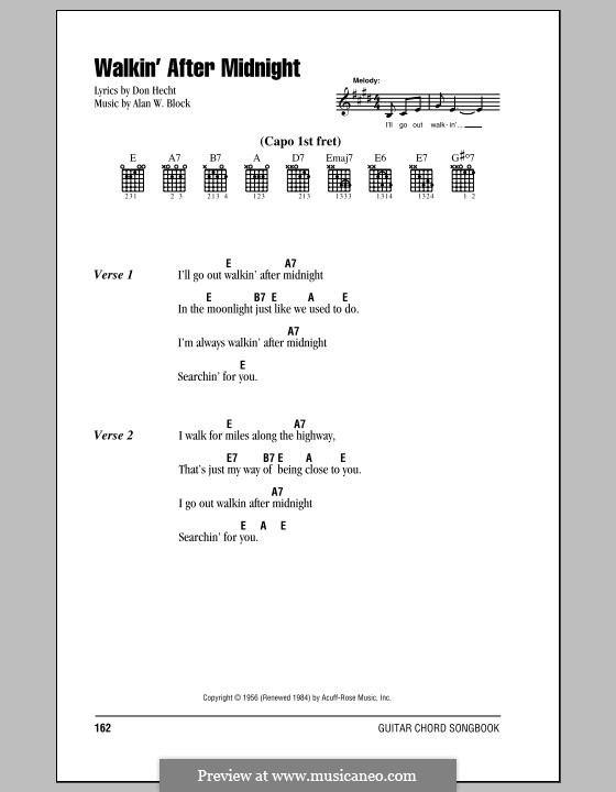 Walkin' After Midnight (Patsy Cline): Lyrics and chords (with chord boxes) by Alan W. Block