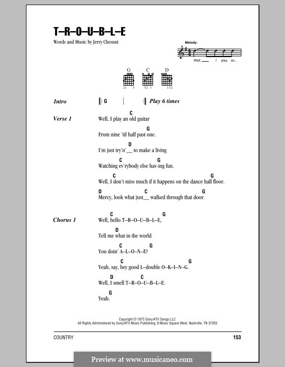 T-R-O-U-B-L-E (Elvis Presley): Lyrics and chords (with chord boxes) by Jerry Chesnut