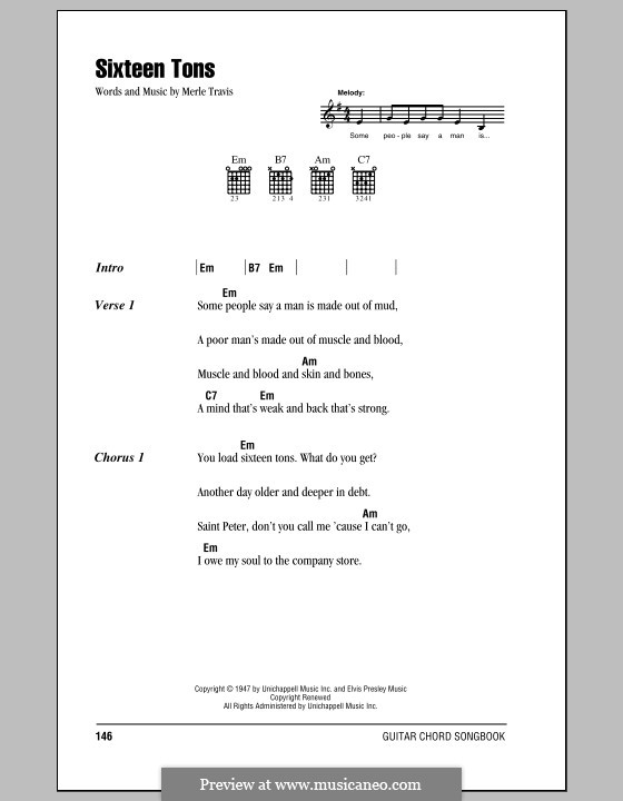 Sixteen Tons (Tennessee Ernie Ford): Lyrics and chords (with chord boxes) by Merle Travis