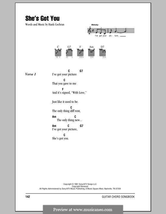 She's Got You (Patsy Cline): Lyrics and chords (with chord boxes) by Hank Cochran