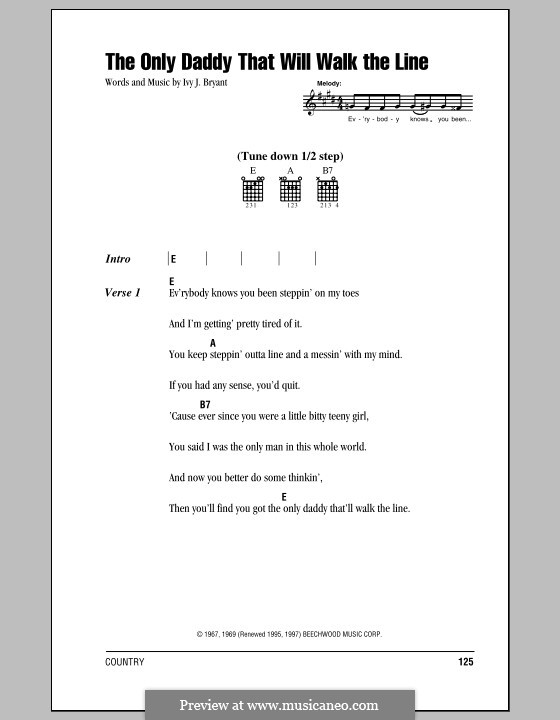 The Only Daddy That Will Walk the Line (Waylon Jennings): Lyrics and chords (with chord boxes) by Ivy J. Bryant