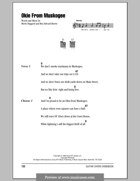 Okie from Muskogee: Lyrics and chords (with chord boxes) by Roy Edward Burris