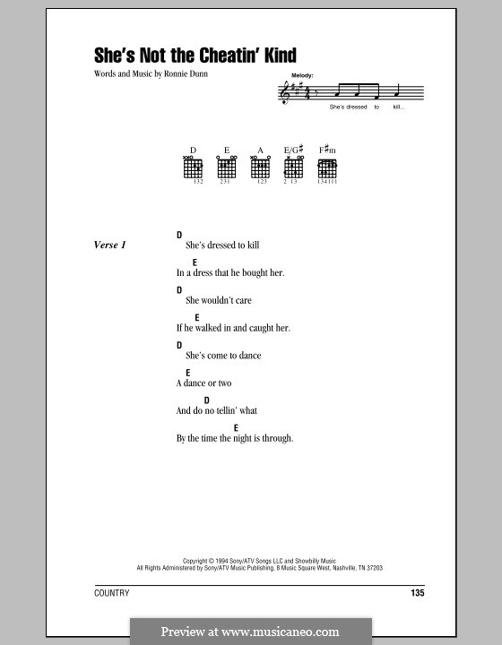 She's Not the Cheatin' Kind (Brooks & Dunn): Lyrics and chords (with chord boxes) by Ronnie Dunn