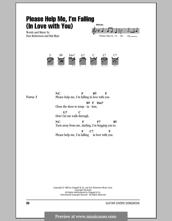 Please Help Me, I'm Falling (In Love with You): Lyrics and chords with chord boxes (Hank Locklin) by Don Robertson, Hal Blair
