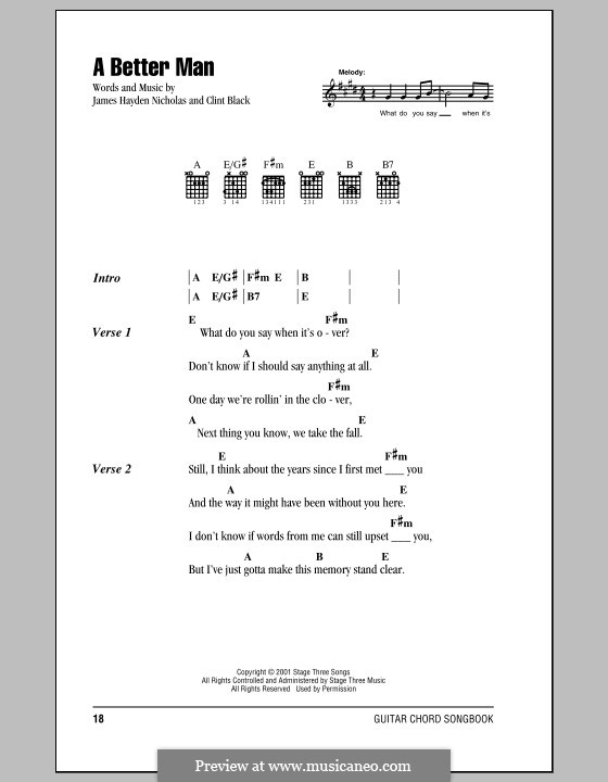 A Better Man by C. Black - sheet music on MusicaNeo