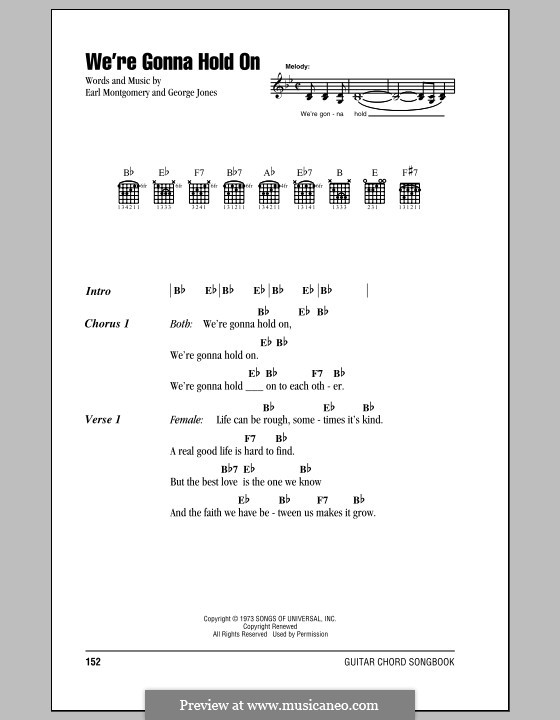 We're Gonna Hold On: Lyrics and chords (with chord boxes) by Earl Montgomery