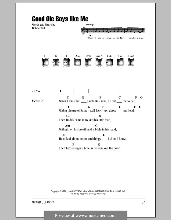 Good Ole Boys Like Me: Lyrics and chords (with chord boxes) by Bob McDill