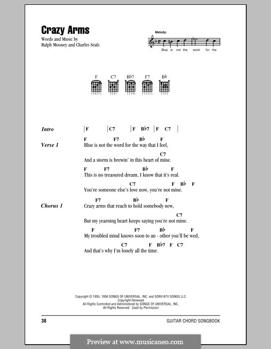 Crazy Arms (Ray Price): Lyrics and chords (with chord boxes) by Charles Seals, Ralph Mooney