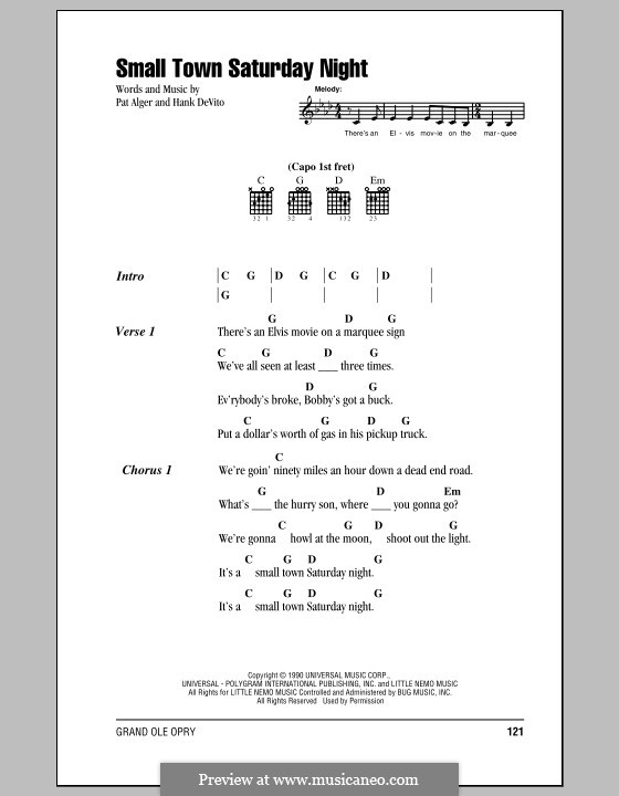 Small Town Saturday Night (Hal Ketchum): Lyrics and chords (with chord boxes) by Hank Devito, Pat Alger