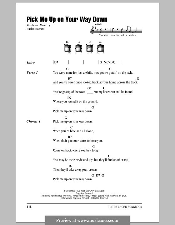 Pick Me Up On Your Way Down By H Howard Sheet Music On Musicaneo