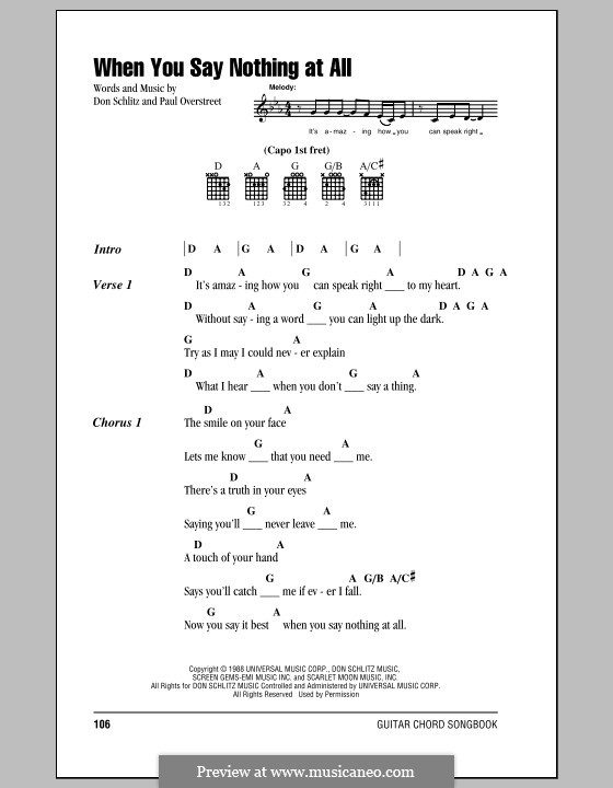 When You Say Nothing at All (Alison Krauss & Union Station): Lyrics and chords (with chord boxes) by Don Schlitz, Paul Overstreet