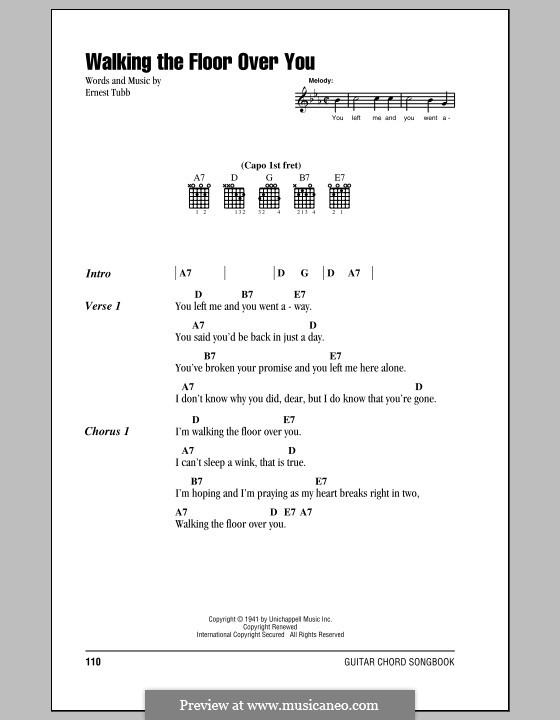Walking the Floor Over You: Lyrics and chords (with chord boxes) by Ernest Tubb