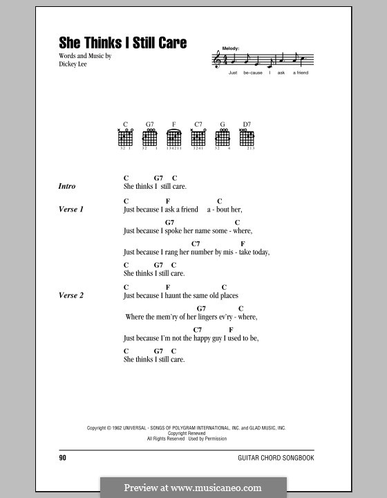 She Thinks I Still Care (George Jones): Lyrics and chords (with chord boxes) by Dickey Lee