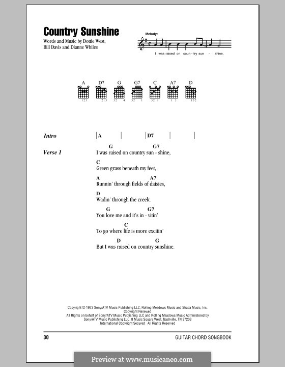 Country Sunshine (Dottie West): Lyrics and chords (with chord boxes) by Billy Davis, Dianne Whiles