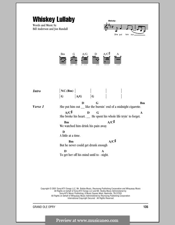 Whiskey Lullaby (Brad Paisley): Lyrics and chords (with chord boxes) by Bill Anderson, Jon Randall