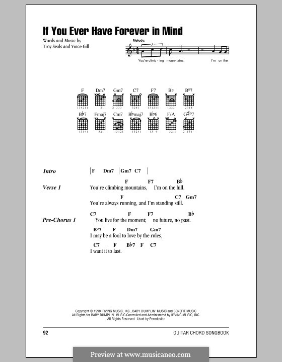 If You Ever Have Forever in Mind (Vince Gill): Lyrics and chords (with chord boxes) by Troy Seals