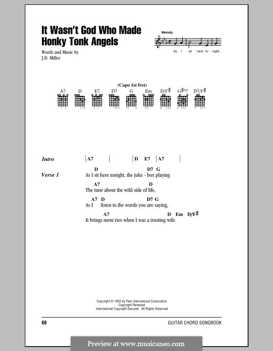 It Wasn't God Who Made Honky Tonk Angels (Patsy Cline): Lyrics and chords (with chord boxes) by J.D. Miller